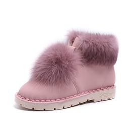 Botas de pele on-line-2018 botas de neve do inverno mulheres planas confortáveis ankle boots de pelúcia bola de pel ...