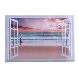 Wholesale window wall decal vinyl view - Cheap Wall Stickers 3D Palm Beach landscape Window Stickers View Removable Wall Art Sticker Vinyl Decal Home Decor Tickers Home Decor