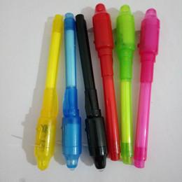 penna magica uv Sconti 200PCS Magic 2 in 1 UV Light Combo Cancelleria creativa Inchiostro invisibile penna colore casuale popolare