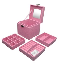 Wholesale gift boxes for shoes - new 3 layers retro Suede box Jewelry storage boxes Jewelry case makeup organizer for wedding gifts organizer casket box