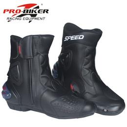 botas moteras de moto Rebajas PRO-BIKER Botas de moto de cuero de microfibra Racing Botas de equitación de Motocross Zapatos de piernas medias macho / hembra modelo A004