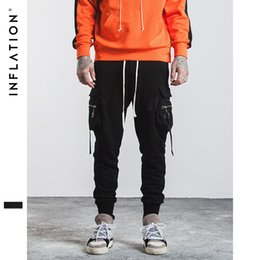 Wholesale Full Length Rings - Men's clothing wholesale brand high street dance pants zipper pocket ring ribbon pedal men's sports pants