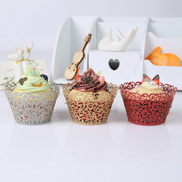 Wholesale Wedding Decorations Paper Laser - Heat Resisting Baking Paper Cups Laser Cut Cupcake Creative Hollow Out Muffin Cup Wedding Party Decoration Multi Color 0 32lk C R