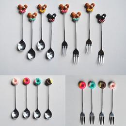 cucchiaini di caffè Sconti Cartoon Coffee Spoon Fork Resin Donuts Tea Stirring Cucchiaio Exquisite Drink Kitchen Tableware Wedding Party Favors 2018 NOVITÀ