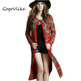 Wholesale Long Women British Coat - Female long design red floral knit outwear Women slim cardigan sweater casaco vestido british style trench coat ZZ032S30