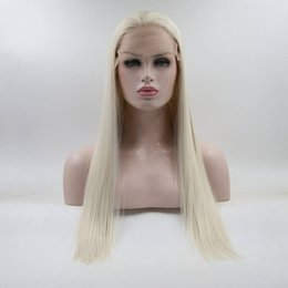 Wholesale Platinum Long Wigs - High Temperature Fiber Natural Straight Platinum Blonde 60# Princess Synthetic Lace Front Wig With Baby Hair For Women wig
