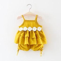 Wholesale Girls Tank Top Flower - Wholesale Summer Baby Clothing Sets Children Girls Fashion Brand Clothes Kids Tank Top And Pants lace flower 2 Pics