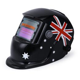 Wholesale Mma Caps - UK Flag Helmet Solar Auto Darkening Welding Helmet MIG MMA Electric Welding Mask Welder Cap Lens