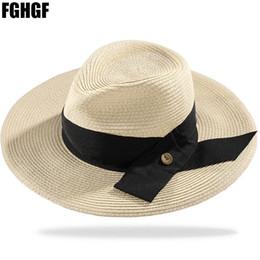 9ace4b65be3ac FGHGF Mujeres Naturales de Verano de Ala Ancha Panamá Sombreros de Paja  Sombrero Floppy Gran Cinta Negra Playa de Fedora Sombrero de Sol UPF50 +  económico ...