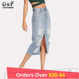 Dotfashion Split Front Ripped Denim Skirt 2018 New Fashion Summer Cuello  largo Falda Mujeres Blue Slit Mid Skirt Casual Skirt 14c3002759ba
