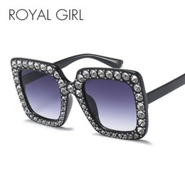 32f8617f2c8 ROYAL GIRL Square Rhinestone Sunglasses Women Italy Brand Designer Oversized  Crystal Sun Glasses 2018 New Mirror Shades ss302