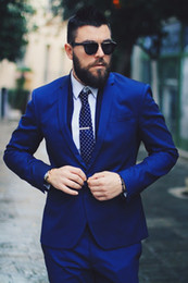 Wholesale Tuxedo Suits Tailored - Royal Blue Men Suits Blazer Business Suits Luxury Formal Wedding Suits Bridegroom Tailored Tuxedos Terno Masculino 2 Pieces (Jacket+Pants)