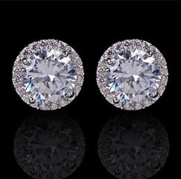 chicas hermosas damas Rebajas Pendientes cristalinos de la boda para las mujeres bohemio hermoso pendiente redondo del diamante lleno CZ Zircon Ladies Girls Joyería de las mujeres