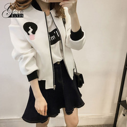 Wholesale Color Collage - Women Spring Coat Baseball Jacket Women Fashion Bomber Jackets Collage Korean Style Candy Color Outerwear Lady Girls Loose Coat