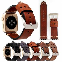 Argentina Banda de estilo retro para Apple Watch Series 4 3 2 1 Correa para cinturón iWatch Banda de cuero genuino hecha a mano de la vendimia 38mm 42mm Suministro