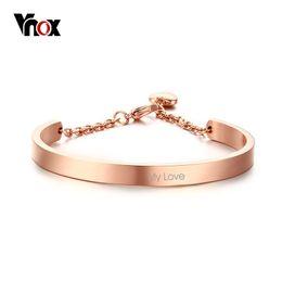 Vnox Información personalizada Mujeres Cuff Bracelets Bangles Heart Charm Pulsera para mujeres Classic Nombre personalizado Jewelry Rose Gold Color desde fabricantes