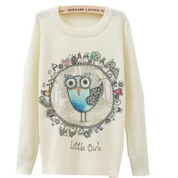 Eulen-weihnachts-pullover online-2017 westlichen Stil Winter Owl Print Langarm Lässige Pullover Frauen Weihnachten Pullover Winter Oansatz Weibliche Pullover