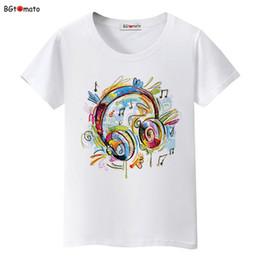 Wholesale Graffiti Colorful - BGtomato love music Graffiti headphones T-shirts women colorful music summer shirts Brand new tees Comfortable causal tees