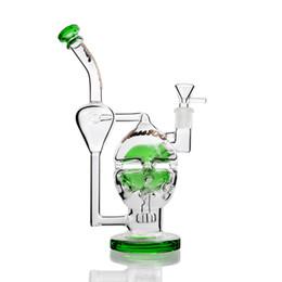 2020 schädel wasser pfeife ei Green Sesh Fab Egg Großes Glas Bong Skull Glas Wasser Rohr Doppelrecycler Showerhead Perc Bohrinseln mit 14 mm Gelenk 10,3 '' günstig schädel wasser pfeife ei