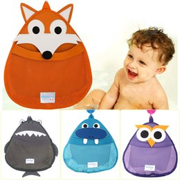 fabric baby owls Promo Codes - Cartoon Owl Design Bathroom Wall Hang Storage Bags Creative Kids Bathing Toys Soft Waterproof Baby Shower Pockets New Arrival 21zs Z