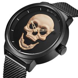 Argentina Nuevo reloj de calavera Gothic Punk 3D esqueleto para hombre Relojes de primeras marcas de lujo creativos relojes de pulsera para hombres Reloj Hombre con caja cheap punk wrist watches Suministro