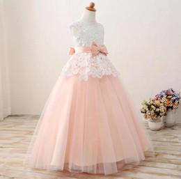 Jewel Ball Gown Tulle Peach Lace Beaded Ribbon Bow Ribbon Piano Lunghezza Wedding Flower Girl Dress cheap peach wedding dresses bows da abiti da sposa di pesca archi fornitori