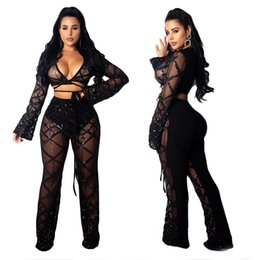 1a004ff0 women flare pants Coupons - 2018 women casual Pants suit two piece set sequined  Cut Out