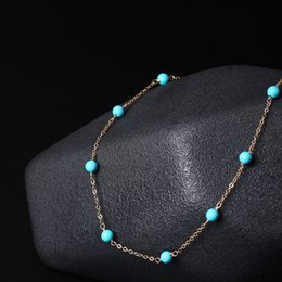 Wholesale Singapore Wedding Gold Jewelry - Handmade original 14K Gold jewelry simple temperament Blue Turquoise Necklace female short chain wholesale clavicle 14k gold filled necklace