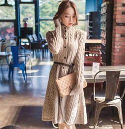 e00ae274158 The 2017 fall and winter women  s sweet sweaters dresses outfit more show  thin long sweaters twist cardigan sweater coat knitted dress woman fashion  fall ...
