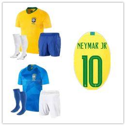 Wholesale Mailing S - 2017 18 Brazilian soccer jerseys JR OSCAR D.COSTA DAVID LUIZ Football shirt+ shorts + socks Free mailing