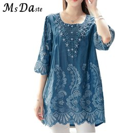 18b352e4bab71 Summer Blouses and Tops for Women 2018 Embroidery Beads Vintage Ladies  Blouse Plus Size XL~4XL A-line Loose Woman Tunic Tops