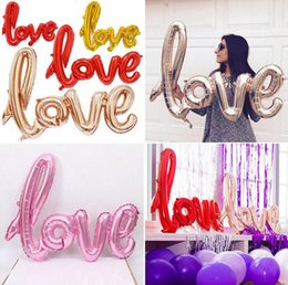 Wholesale Balloon Decor Supplies - Love Letter Aluminum Foil Balloon 108*64cm Foil Helium Balloons Wedding Birthday Party Decor Props Celebration Supplies OOA4605