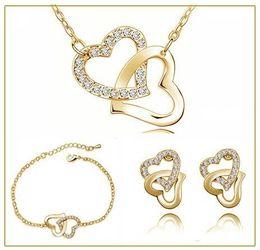 Wholesale Czech Earrings - tiger totem free shipping yellow hot popular double heart locket charm Czech rhinestones fashion necklace earring Jewelry Sets