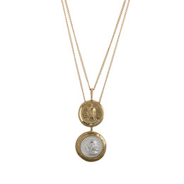 Золотой круглый кулон ожерелье онлайн-Fashion 2018 Vintage Gold Color Double Laye Necklace Double Round Personage Pendant Ancient Coins Necklaces Gift For Women