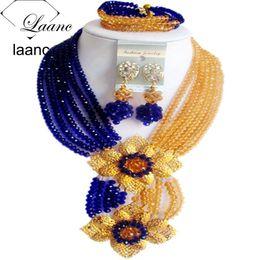 2019 abalorios de boda nigerianos azul real Laanc Fashion Royal Blue Champange Gold boda nigeriana Beads africanos conjunto de joyas de cristal C6CHLK024 abalorios de boda nigerianos azul real baratos