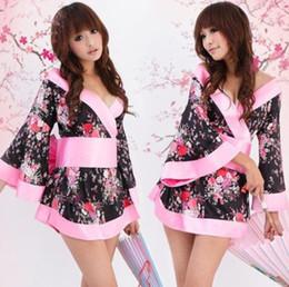 kimono japonés caliente Rebajas Sexy Hot Japanese Porn Kimono Robe Vestido de Baby Doll Ropa de dormir Lencería Erótica Fantasías Eróticas Intim Lenceria Nuisette camisón D18110801