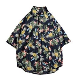 half collar shirts Promo Codes - 2018 Summer New Hawaiian Shirt Cotton Short Sleeve Men Shirts Loose Pineapple Print Fashion Half Sleeve Collar Shirts 5xl