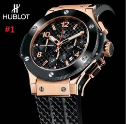 Wholesale Bang Sapphire - luxury men automatic &#72ublot BIG BANG steel golden white watch mechanical sport mens watches rubber band Wristwatch
