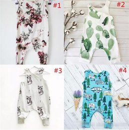 Wholesale baby boys christmas sets - INS Baby Boys Girls Summer Clothing Sets Kids Printed Floral Sleeveless Animal Short Sleeve Heart Flowers Jumpsuits B11