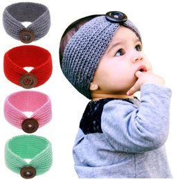 Wholesale Crochet Head Warmers - New Baby Girls Fashion Wool Crochet Headband Knit Hairband With Button Decor Winter Newborn Infant Ear Warmer Head Headwrap