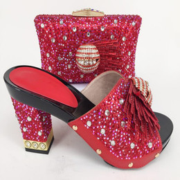 Wholesale matching shoe bag purple - Newest Red Color African Shoes and Matching Bags Italian Shoes and Bags To Match Shoes with Bag Set Decorated with Rhinestone
