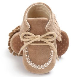 Wholesale Toddler Fashion Boots Brown - Baby Moccasins Soft Sole Lace-up Fringe Baby First Walkers Newborn Infant Girl Crib Shoes Fashion Non-slip Toddler Girl Boots