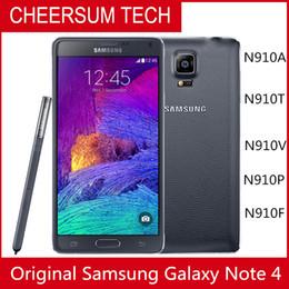 разблокированные галактики сотовых телефонов Скидка Разблокирована Samsung Galaxy Note 4 Сотовый телефон 16MP Камера 3 ГБ ОЗУ 32 ГБ ROM 3G / 4G 5.7 '' Touch Восстановленное Телефон
