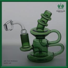 2019 elvis art Freies Verschiffen 5 Zoll Recycler Elvis Klein Glas Bong Oil Rig Tupfen Wasserpfeife Wasserpfeifen 14mm Gelenk plus 4mm Dicke Quarz Banger günstig elvis art