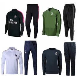 Wholesale psg jacket - Real Madrid RONALDO jacket JUVENTUS Soccer Tracksuit KIT 2018 2019 MBAPPE ISCO KROOS DYBALA BUFFON Football Training suit Maillot De PSG