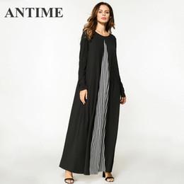2b5c37bd75e7df5 2019 цветные платья макси макси ANTIME Maxi Dress женская мода цвет блока  полосатый лоскутное платья O