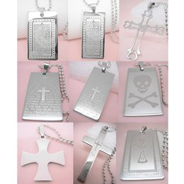 Wholesale Women Silver Rosary - Stainless Steel Pendant Necklace Mix 9 Styles Bible Cross Love Heart Skull Rosary Prayer Men Women Unisex Bead Chain Wholesale Lots (JB002)