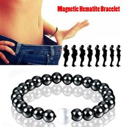 Pulseras de salud online-Pulsera de piedra negra Hombres Pulsera de terapia magnética para hombres Mujeres Pérdida de peso Ronda Cuidado de la salud Hematita magnética Hombres Pulsera de cuentas elásticas