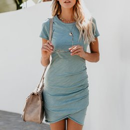 3bb636959e34 2018 Womens asimmetrico aderente Skinny Mini Dress Party Dresses Ladies  Summer Sexy manica corta girocollo abiti stretti sconti vestiti stretti  casuali mini