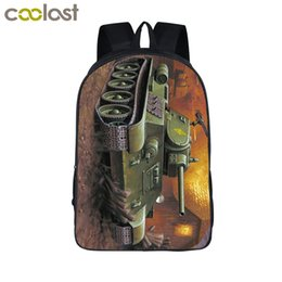 laptop american girl Promo Codes - COOl Armored Main Battle Tank Laptop Backpack Men Travel Bags Armor 3D Printing Bagpack for Teenagers Girls Boys School Bags